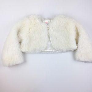 Gymboree Ivory Faux Fur Shrug